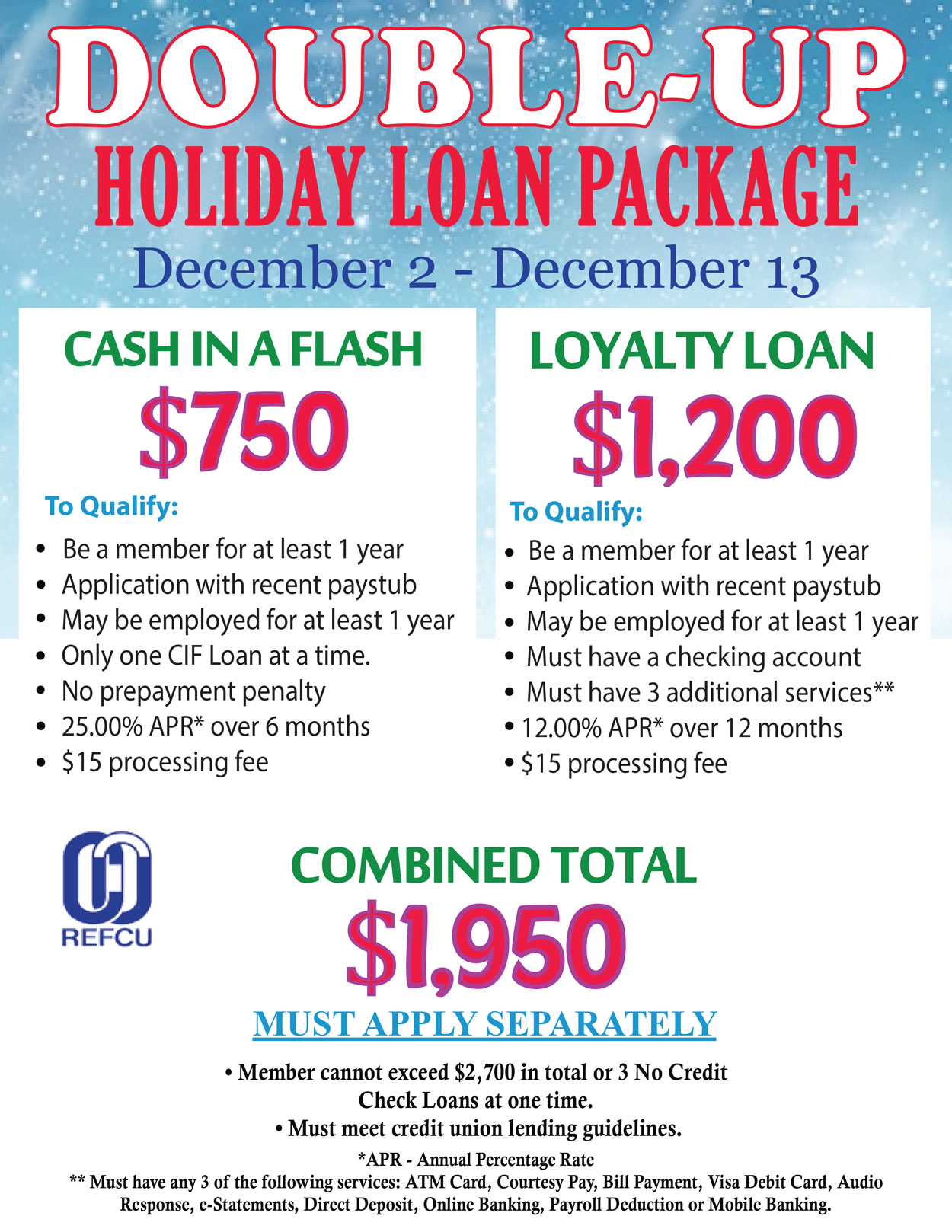 Double Up Holiday Loan Package available December 2 - December 13. Borrow up to $1950